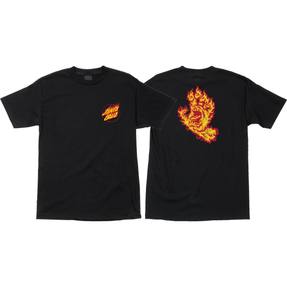 Santa Cruz Flame Hand T-Shirt - Size: X-LARGE Black