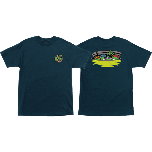 Santa Cruz Tmnt Ninja Turtles Logo T-Shirt - Size: SMALL Harbor Blue