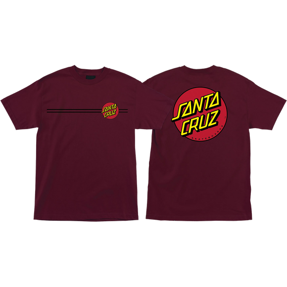 Santa Cruz Classic Dot T-Shirt - Size: MEDIUM Burgundy