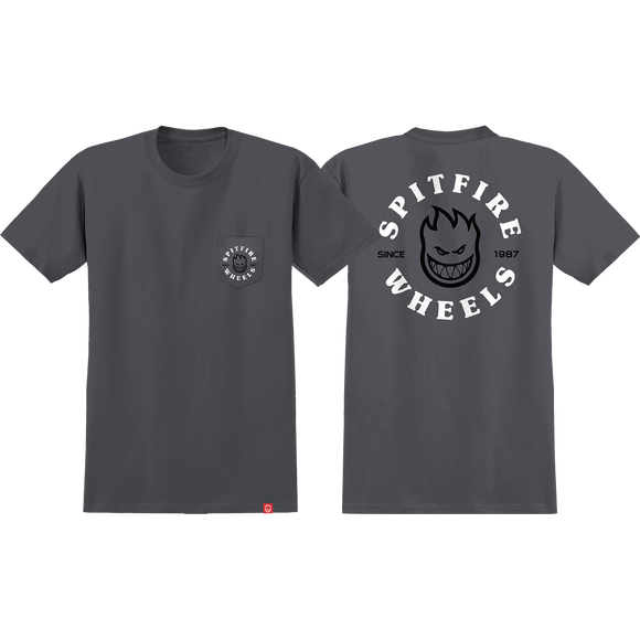 Spitfire Bighead Classic Pocket T-Shirt - Size: X-LARGE Charcoal Grey