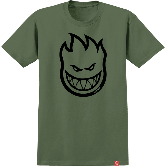 Spitfire Bighead T-Shirt - Size: MEDIUM Military Green/Black