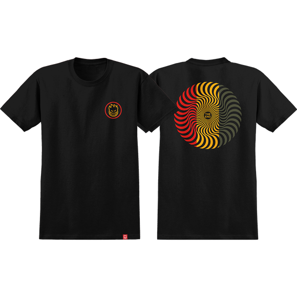 Spitfire Classic Swirl T-Shirt - Size: X-LARGE Black/Red/Gold/Olive