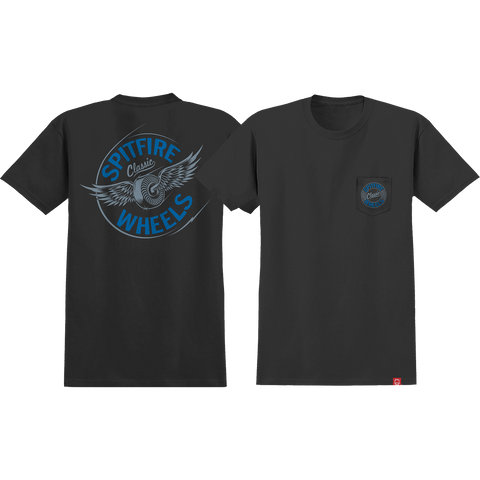 Spitfire Flying Classic Pocket T-Shirt - Size: SMALL Black/Blue