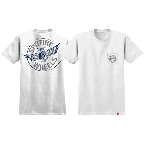 Spitfire Flying Classic Pocket T-Shirt - Size: SMALL White/Grey/Blue