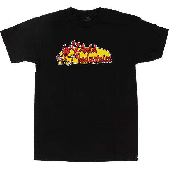 World Industries Retro Corp T-Shirt - Size: MEDIUM Black