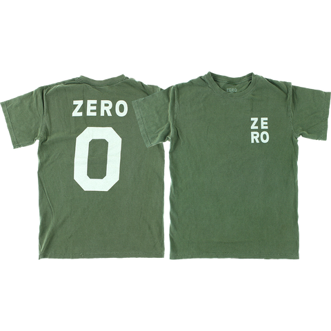 Zero Numero T-Shirt - Size: SMALL Army/White