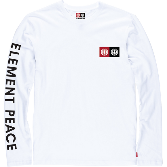Ele Peace Block Long Sleeve MEDIUM Optic White Shirt