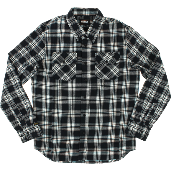 Grizzly Tundra Button-Up Long Sleeve MEDIUM Black Plaid Shirt  | Universo Extremo Boards Skate & Surf