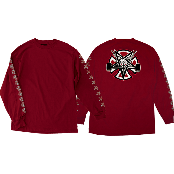 Independent Thrasher Pentagram Cross Long Sleeve X-LARGE Red Shirt