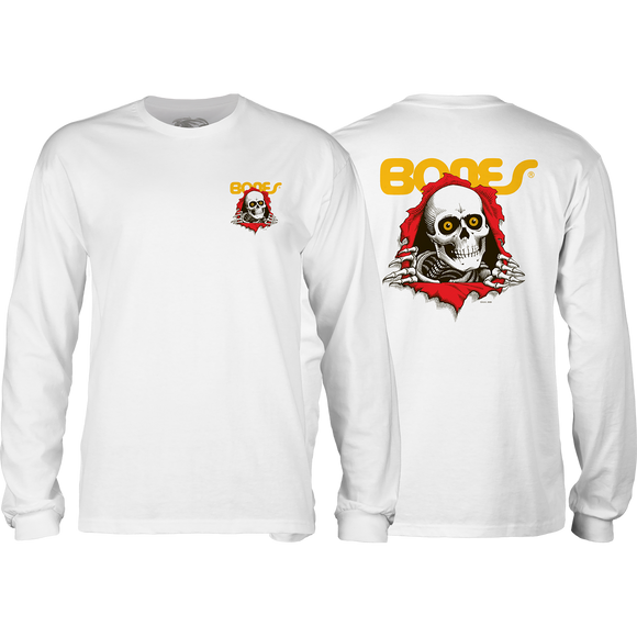 Powell Peralta Ripper Long Sleeve MEDIUM White Shirt