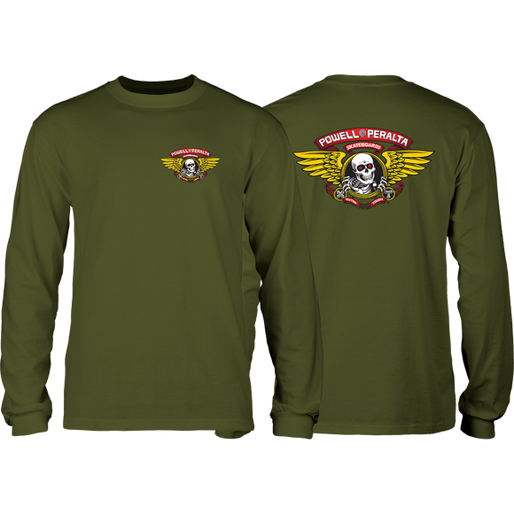 Powell Peralta Winged Ripper Long Sleeve SMALL Military Green Shirt