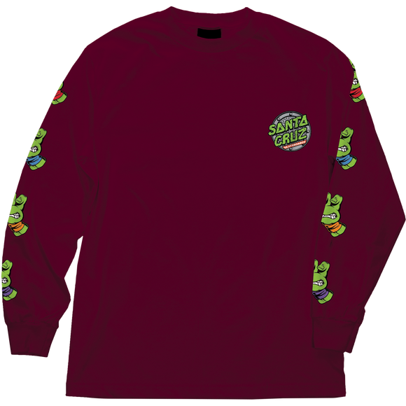Santa Cruz Tmnt Sewer Dot Long Sleeve LARGE Burgundy Shirt