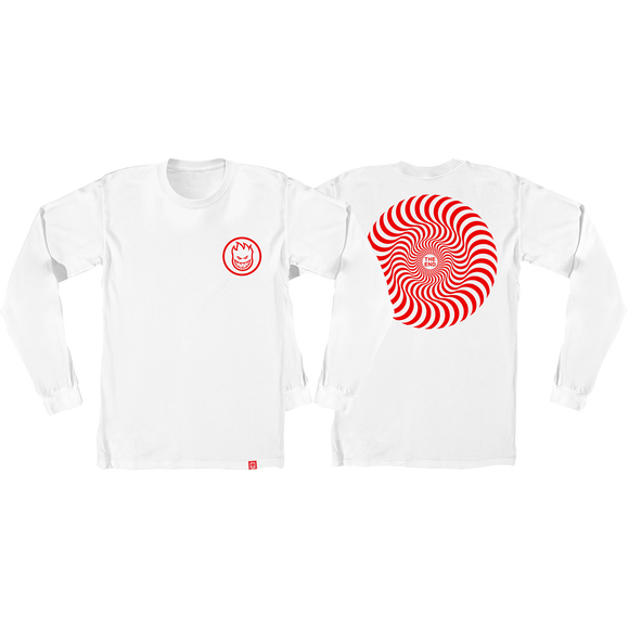 Spitfire Classic Swirl Long Sleeve X-LARGE White/Red Shirt