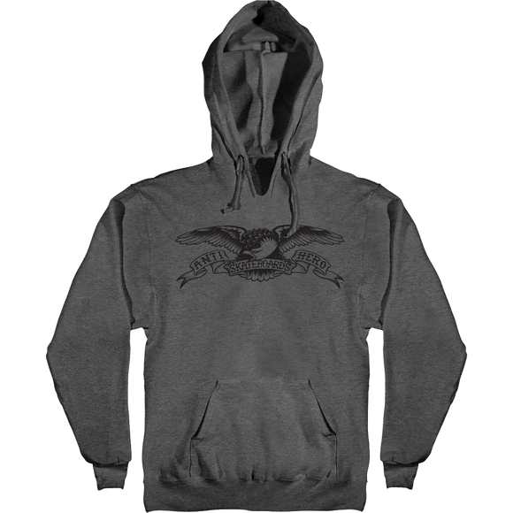 Antihero Basic Eagle Hooded Sweatshirt - SMALL Charcoal Heather/Black