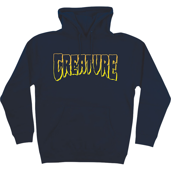 Creature Logo Outline Hooded Sweatshirt - SMALL Navy