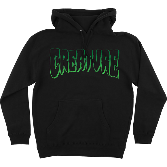 Creature Logo Outline Hooded Sweatshirt - SMALL Black
