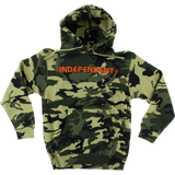 Independent Bar/Cross Hooded Sweatshirt - MEDIUM Camo/Orange | Universo Extremo Boards Skate & Surf