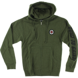 Independent Btg Patch Zip Hooded Sweatshirt - X-LARGE Army Heather | Universo Extremo Boards Skate & Surf