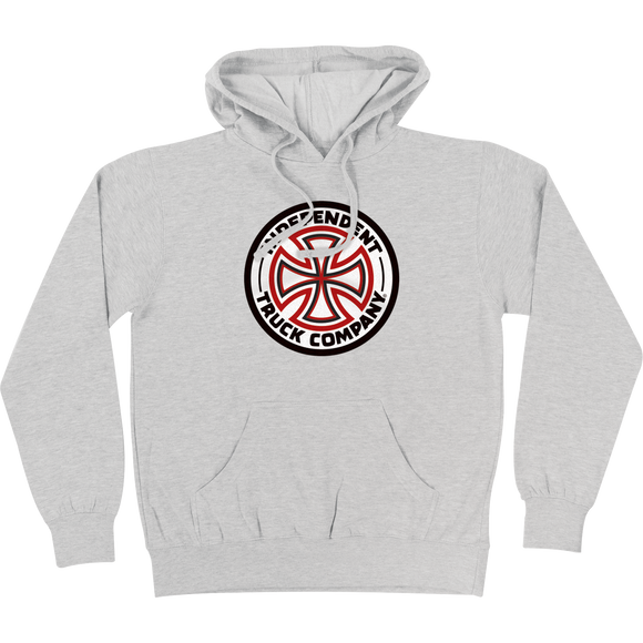 Independent Red/White Cross Hooded Sweatshirt - SMALL Athletic Heather
