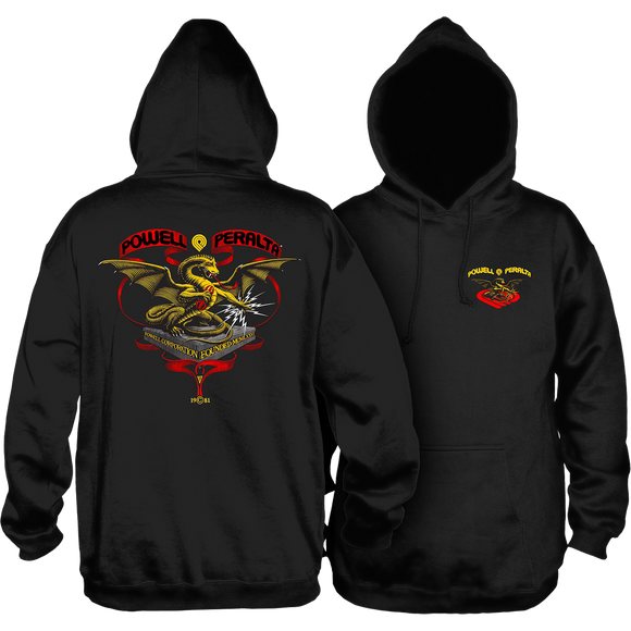 Powell Peralta Banner Dragon Hooded Sweatshirt - MEDIUM Black