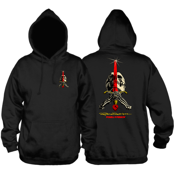 Powell Peralta Skull & Sword Hooded Sweatshirt - LARGE Black