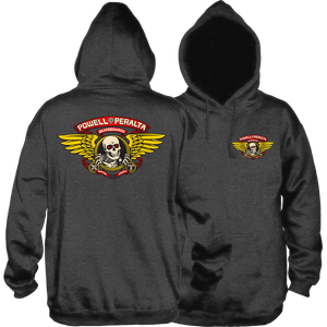 Powell Peralta Winged Ripper Hooded Sweatshirt - SMALL Charcoal