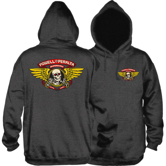 Powell Peralta Winged Ripper Hooded Sweatshirt - LARGE Charcoal
