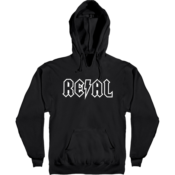 Real Deeds Outline Hooded Sweatshirt - X-LARGE Black/White