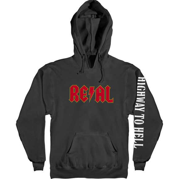 Real Deeds Hwy 2 Hell Hooded Sweatshirt - SMALL Black