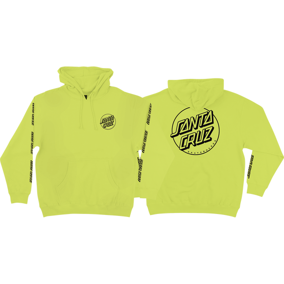 Santa Cruz Opus Dot Sleeves Hooded Sweatshirt - LARGE Safety Yellow