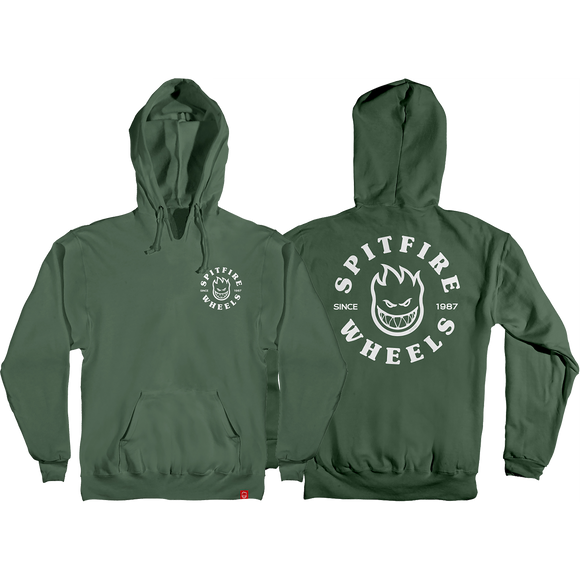 Spitfire Bighead Classic Hooded Sweatshirt - LARGE Army/White