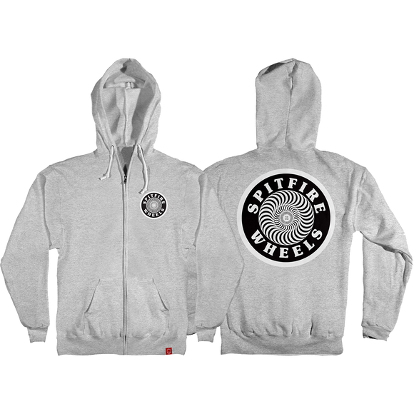 Spitfire OG Circle Patch Zip Hooded Sweatshirt - SMALL Heather Grey/Black