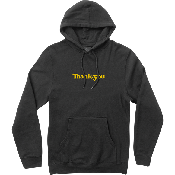 Thank You Center Hooded Sweatshirt - MEDIUM Black/Yellow