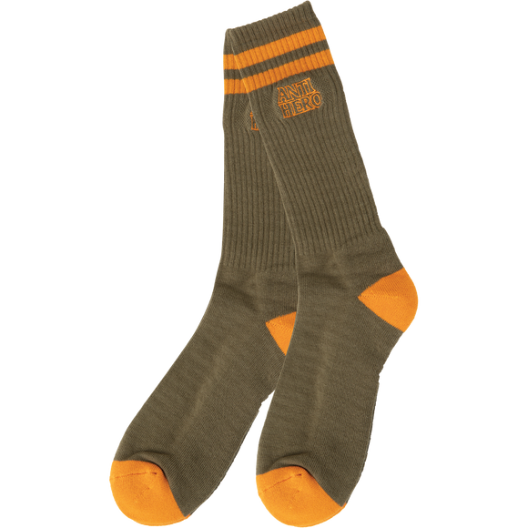 Antihero Black Hero Outline Crew Socks Olive - Single Pair