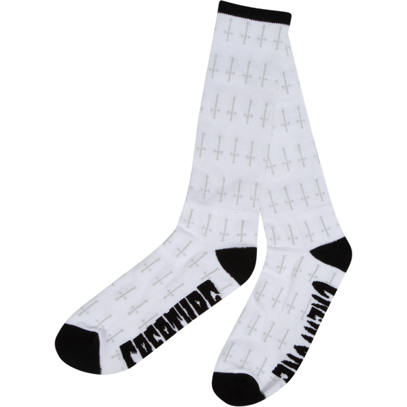 Creature Holy Crosses Crew Socks White - Single Pair