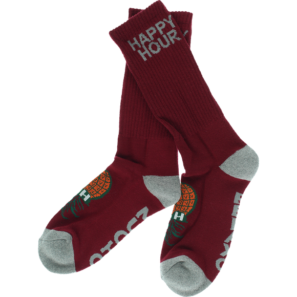 Happy Hour Mucho Relaxo Crew Socks Burgundy/Grey - Single Pair