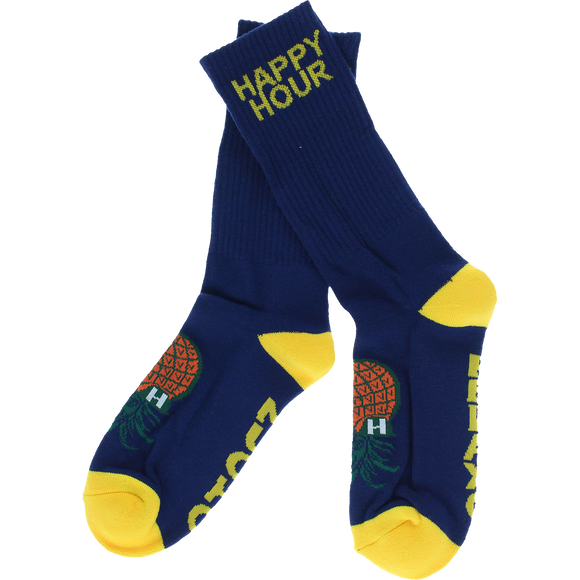 Happy Hour Mucho Relaxo Crew Socks Navy/Yellow - Single Pair