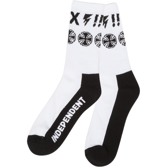 Independent Ante Crew Socks White - Single Pair