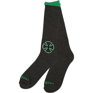 Independent B/C Primary Crew Socks Charcoal Heather/Green - Single Pair
