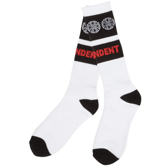 Independent Woven Crosses Crew Socks White - Single Pair