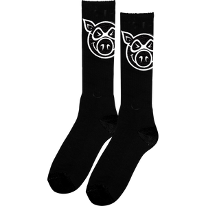 Pig Head Tall Socks Black - Single Pair