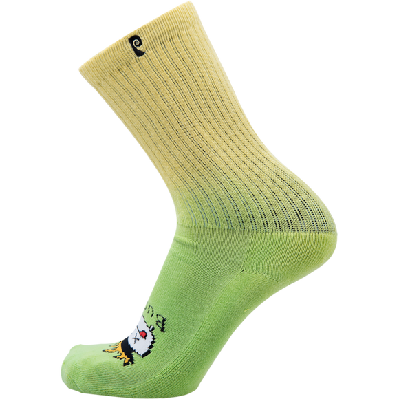 Psockadelic Burnt Crew Socks Green - Single Pair