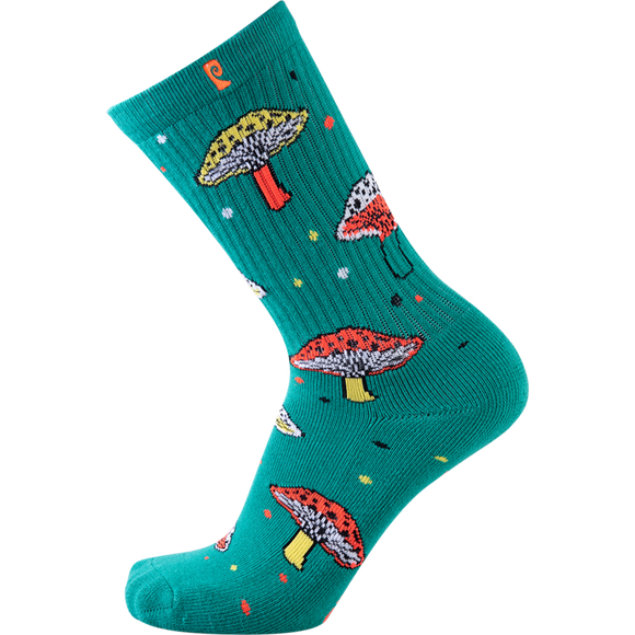 Psockadelic Fungi Crew Socks Green - Single Pair