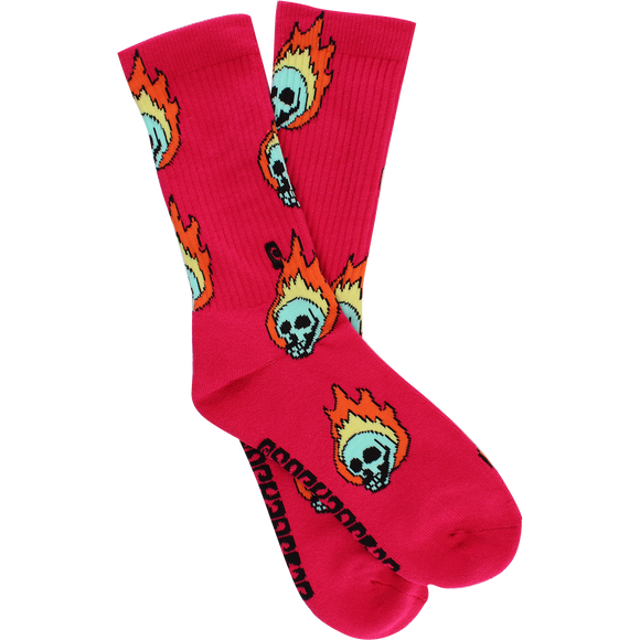 Psockadelic Flame Skull Crew Socks - Single Pair