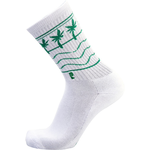 Psockadelic High-N-Low White Crew Socks - Single Pair