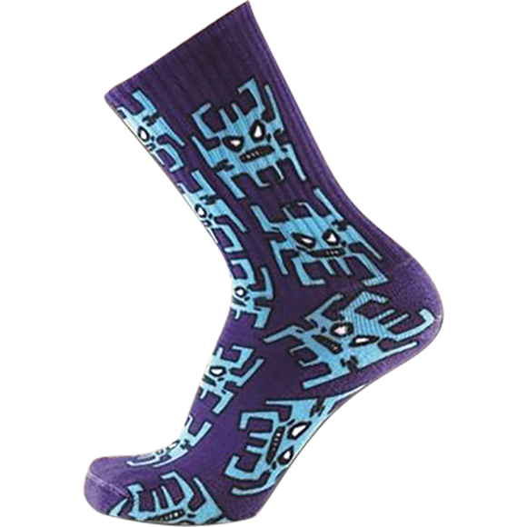 Psockadelic Invader Crew Socks Blue - Single Pair