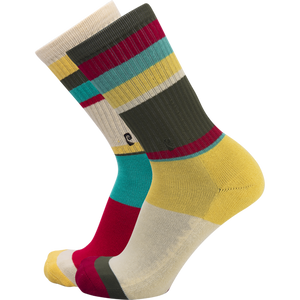 Psockadelic Striped Tan/Olive/Red Crew Socks - Single Pair