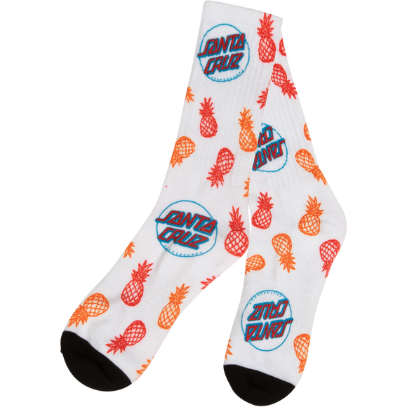 Santa Cruz Holiday Crew Socks White - Single Pair