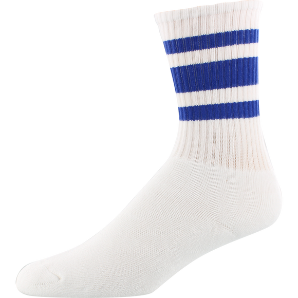 Socco Socks Small/Medium Crew Stripe White/Royal- Single Pair