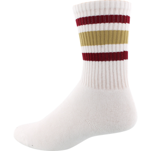 Socco Socks Small/Medium Crew Stripe White/Garnet/Gold - Single Pair